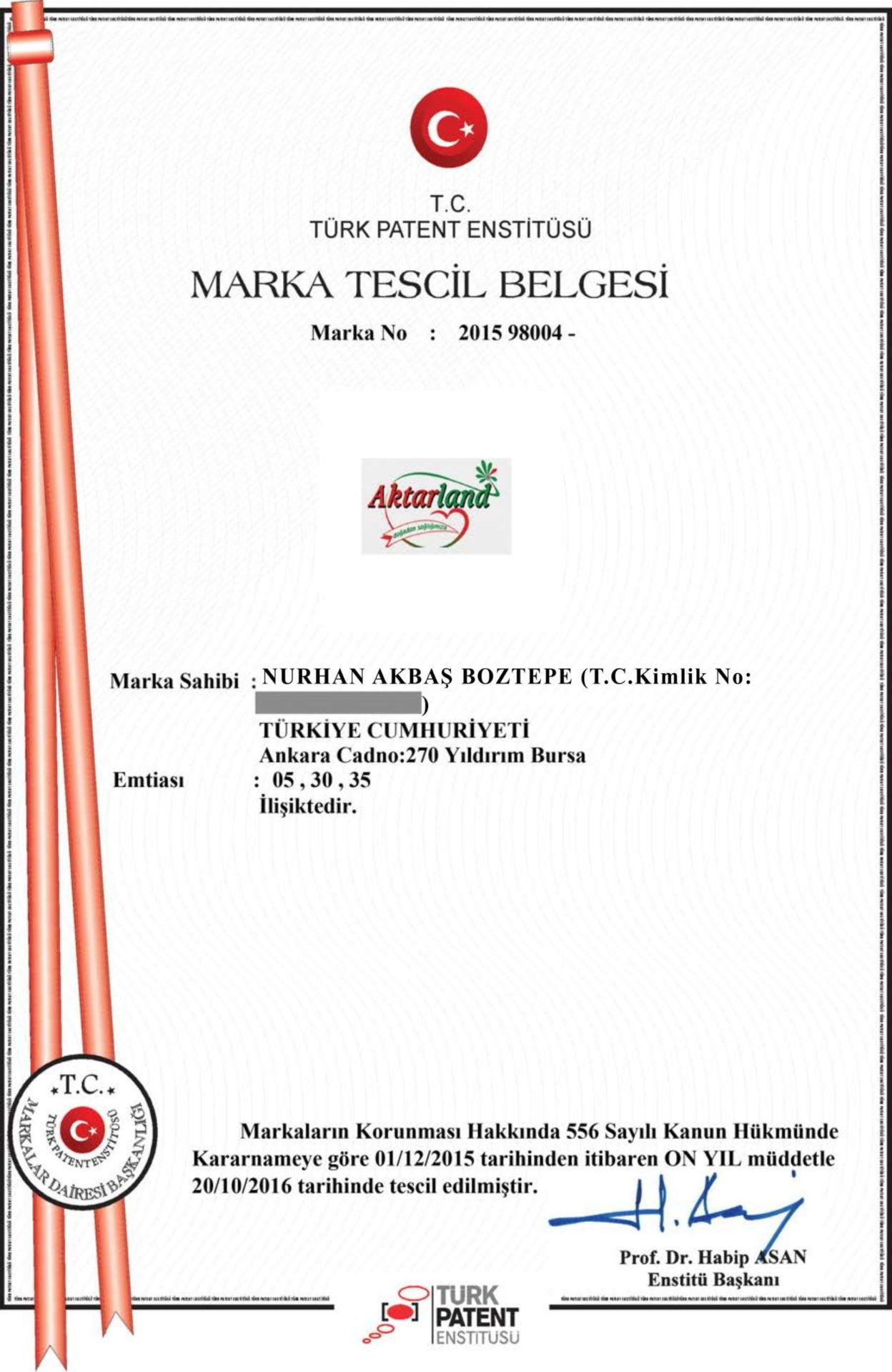 Aktarland Marka Tescil